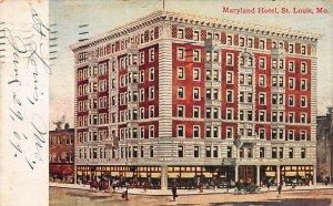 Maryland Hotel, St. Louis, Missouri, Early Postcard, Used in 1909