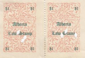 Pair of ALBERTA $1 Law Stamps