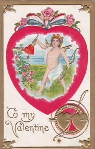 Valentine's Day Cupid With Red Heart and Patriotic Red White and Blue Ribbon
