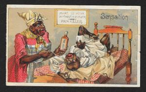 VICTORIAN TRADE CARD Pain Killer Blacks Mom feeding Dad