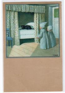 Little Girls and a Cat in the Bed by P. Ebner