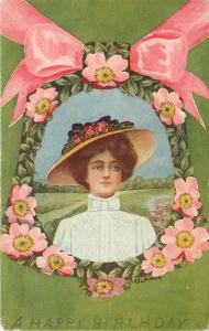 Winsch Lady Belle~Wide Flower Hat~Pink Ribbon~Pink Wild Roses Bell~Avery~A-141