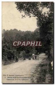 Postcard Old Saint Just en Chaussee Road Shot and the & # 39Abreuvoir