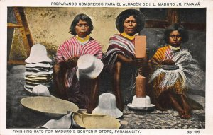 Finishing Hats for Maduro's Souvenir Store, Panama City, Early Postcard, Unused