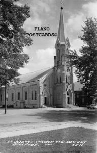 BELLEVUE, IOWA ST. JOSEPH'S CHURCH & RECTORY RPPC REAL PHOTO POSTCARD
