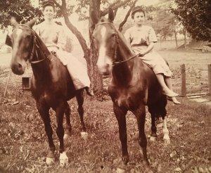 1910s Woman and Girl Riding Horse RPPC Real Postcard Solio Dress Bareback