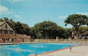 Moline Illinois~Lifeguard @Riverside Park~Municipal Swimming Pool~1960 Postcard