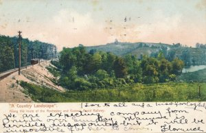 Country Landscape near Rochester NY New York Along Eastern Rapid Railway pm 1907