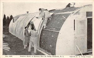 Seabees Erect a Quonset Hut at Camp Endeicott RI, Official US Navy Photo Mili...