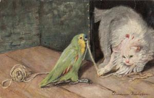 AS: White Cat and Parrot tugging on string of yarn, 1900-10s