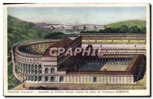 Old Postcard in Orange Ensemble Theater Antique After the plans of the Architect