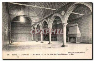 Old Postcard Blois Chateau Louis XII Wing Hall of the States General