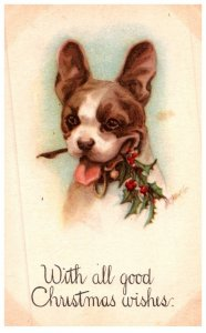 Dog ,  terrier holding Misiltoe, Christmas Wishes