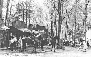 Brunswick ME Simpson's Animal Farm Horseback Riders RPPC Postcard