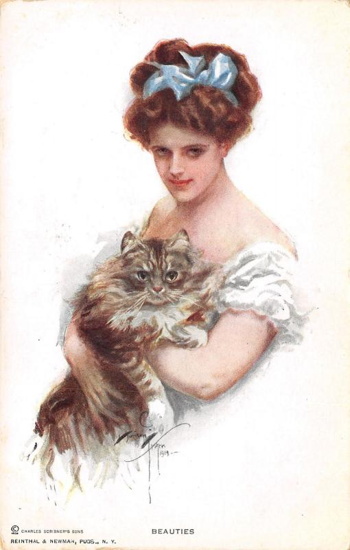 Harrison Fisherbeautieslovely Lady Holds Big Fat Tiger Striped Cat Pc