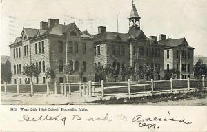 West Side High School Pocatello Idaho ID 1906 UNDivided Back