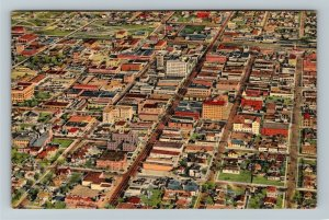 Albuquerque NM-New Mexico, Aerial View of Downtown, Linen c1949 Postcard