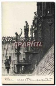 Paris Old Postcard Notre Dame Buttresses of the arrow Apostles and Evangelists