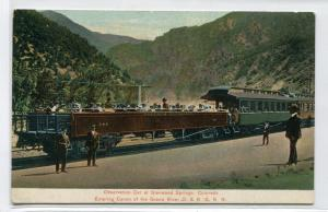 D & RG Railroad Observation Railroad Car Glenwood Springs Colorado postcard