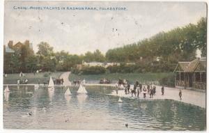 Model Yachts in Radnor Park, Folkestone, 1911 used Postcard