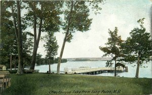 Chautaugua Lake From Long Point, NY Undivided Back Postcard. Fishing Dock