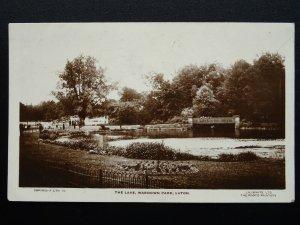 Bedfordshire LUTON Wardown Park Lake c1930's Postcard by Lilywhite LTN19