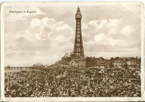 Blackpool in August, 1920s-1930s used real photo Postcard