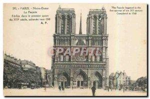 Old Postcard Paris Notre Dame the Facade