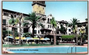 Riverside Calif. RPPC Postcard Martin Hand-Colored Photo MISSION INN Pool View