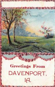 Davenport IA~Pink & Red Blooming Dogwood Tree & Garland~Embossed Greetings 1911
