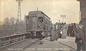 Oneida NY Main Street Railroad Station Train Depot Real Photo Postcard