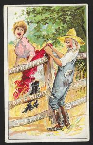 VICTORIAN TRADE CARD Night&Day Tobacco Pretty Girl's Skirt Stuck on Fence Farmer