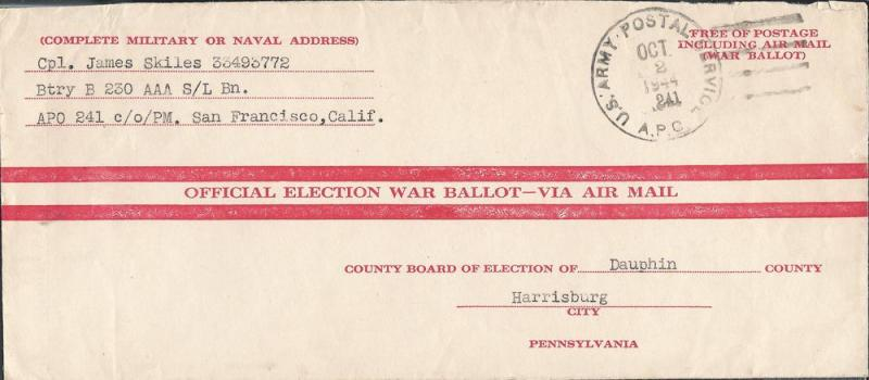Absentee Ballot From Kwajalein, Marshall Islands A.P.O. 2...