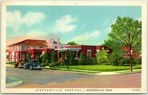 Stephenville, Texas Postcard STEPHENVILLE HOSPITAL Street View Linen 1942 Cancel