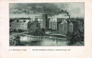 State Normal School, Kirksville, Missouri, Early Postcard, Used in 1907