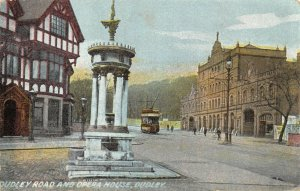 Vintage 1900s Dudley Postcard, Dudley Road & Opera House, Tram DN4