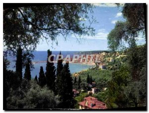 Postcard Moderne Menton AM General view taken through the olive trees