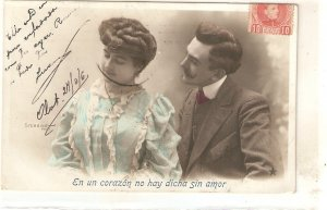Couple. Romance Nice old vintage French postcard