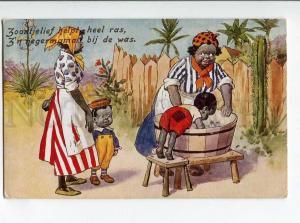 264915 BLACK AMERICANA Kids Women Wash by FG LEWIN vintage PC