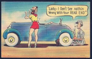 'Nothing Wrong Rear End...' Sexy Lady Mechanic Used c1946