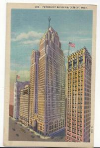 MI Detroit Penobscot Building Vtg 1932 Linen Postcard