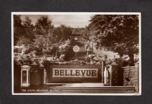 Ireland UK Belfast Bellevue Steps Entrance Irish Real Photo RPPC Postcard