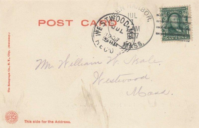 GREEN HARBOR , Massachusetts, 1907; Blue Fish Rock and Jetties