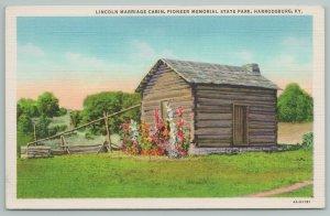 Harrodsburg Kentucky~Lincoln Marriage Cabin~Memorial State Park~Vintage Postcard