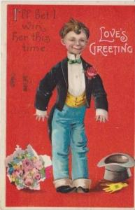 I Bet I'll Win Her This Time, Boy in Suit w/ Bow Tie & Top Hat & Bouquet of F...