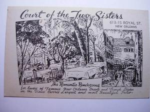 Vintage COURT OF TWO SISTERS RESTAURANT New Orleans Louisiana LA Card y9435-22