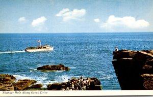 Maine Acadia National Park Frenchman's Bay Cruise Boat At Thunder Hole A...