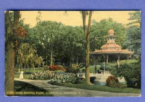 Saratoga Springs, New York/NY Postcard, Congress Spring Park