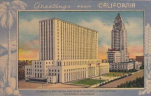 Greetings From California Post Office Federal Building and City Hall Los Ange...