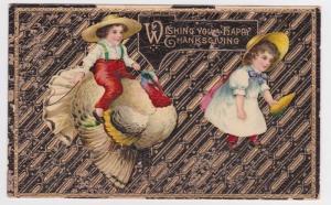 Waterville ME Bath Maine Children Thanksgiving Vintage Postcard ANC G02